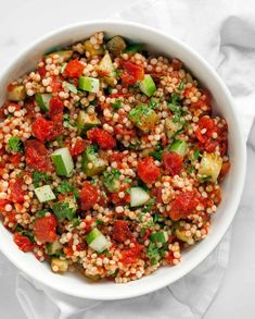Harissa Roasted Tomato Cucumber Couscous Quinoa Chili, Beefsteak Tomato, Summer Tomato, Greek Salad, Beef Steak, Roasted Tomatoes, Eating Plans, Couscous, Whole Food Recipes