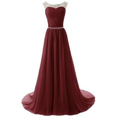 Dressystar Chiffon dress Long Bridesmaid Dress Beading Ball Gown:... ($93) ❤ liked on Polyvore featuring dresses, gowns, long dresses, red evening gowns, red gown, beaded bridesmaid dresses and long red dress