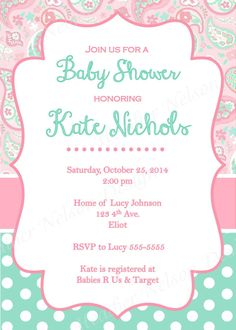 Pink Paisley & Teal Baby Shower Invitation by DesignsofHeather
