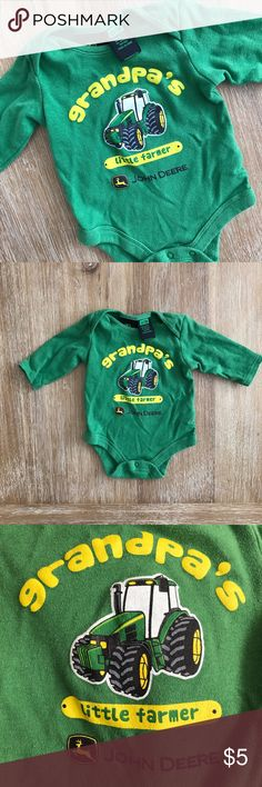 BABY John Deere Grandpa's Little Farmer John Deere green onesie. 0-3 Months. John Deere One Pieces Bodysuits