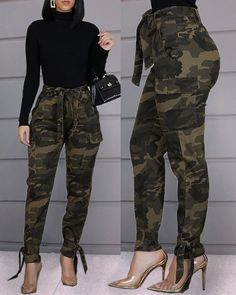Shop Tied Camouflage Casual Pants right now, get great deals at cbrstyle Trend Fashion, Look Fashion, Fashion Pants, Fashion Outfits, Womens Fashion, Chic Outfits, Fall Outfits, Faux Leather Pants, Mode Style