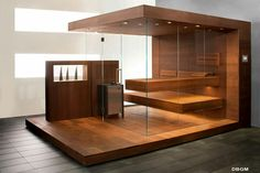 Exclusive design sauna - custom-made to your wishes. Take a look at our inspirations for your individual, customized glass-fronted sauna design! Pool Indoor, Indoor Tents, Indoor Sauna, Spa Sauna, Sauna Room, Spas, Mini Sauna, Design Sauna, Modern Saunas