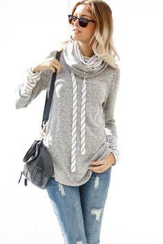 ff805d3b63e2ae Talon Pullover Grey Top, Mock Neck, Soft Fabrics, Pullover, Knitting, Tricot