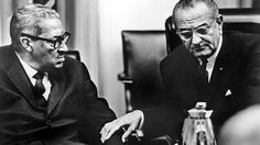 Thurgood Marshall (1908-1993), shown here with former President Lyndon Johnson, was the first African-American member of the Supreme Court. Visit the Library of Congress in Washington, DC, for a look at his personal notes and papers.