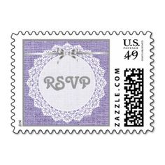 White doily with lace, purple burlap wedding RSVP Postage Stamp