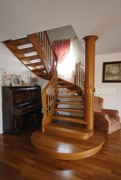 quarter-turn staircase with a lateral stringer (wooden frame and steps) QUEBEC RUSTIC Siller Stairs Straight Stairs, Open Stairs, Wood Staircase, Railing Design, Types Of Wood, Rocking Chair, Stairways, Decoration, Wooden Frames