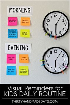 Reminders for Kids Daily Routines Make your own visual reminders for Kids Daily Routines - perfect for back to school! With Post-It Notes. your own visual reminders for Kids Daily Routines - perfect for back to school! With Post-It Notes. School Routines, Daily Routines, Daily Routine Chart For Kids, Kids Schedule Chart, Toddler Routine Chart, Daily Routine Activities, Morning Routine Chart, Daily Schedule Kids, Morning Routine Kids