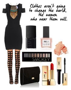 """""""#172"""" by lucieprettyliars ❤ liked on Polyvore featuring Privileged, Hervé Léger, Leslie Danzis, Mansur Gavriel, Forever 21, Yves Saint Laurent, Bobbi Brown Cosmetics, NARS Cosmetics and ncLA"""