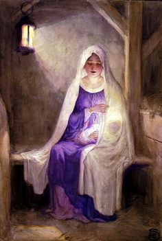 Christmas Tales & Christmas Verse 1912 Mary with Jesus 2 Canvas Art - Florence Storer x Blessed Mother Mary, Divine Mother, Blessed Virgin Mary, Christmas Verses, Christmas Tale, Purple Christmas, Modern Christmas, Vintage Christmas, Holy Mary