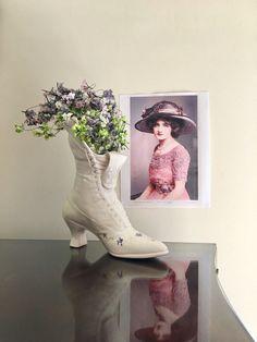 Vintage Victorian Ladies Boot Vase Or Planter  by jarmfarm on Etsy