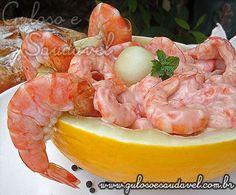 Receita de Salada de Camarão com Melão