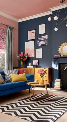 Best salon painting ideas as the best decoration 00053 Colourful Living Room, Cozy Living Rooms, Living Room Modern, Living Room Designs, Living Room Decor, Living Spaces, Room Color Schemes, Room Colors, Home And Deco
