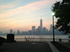 Sunrise at the new One World Trade Center. As seen from across the water in Jersey City on 9/11/2013.  Photo by MyFoxNY.com (Fox5)