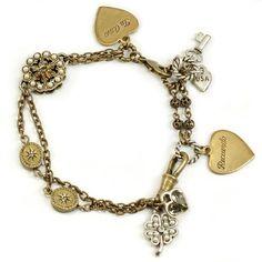 Sweet Romance™ Bits of Random Love Bracelet ($44) ❤ liked on Polyvore