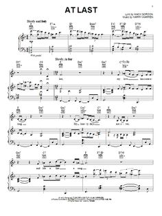 Download Piano/Vocal/Guitar sheet music to At Last by Etta James and print it instantly from Sheet Music Direct.