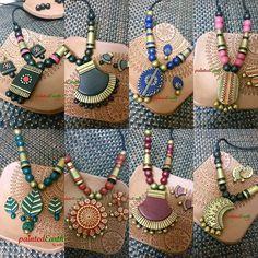 Paper Bead Jewelry, Quilling Jewelry, Fabric Jewelry, Jewelry Crafts, Terracotta Jewellery Making, Terracotta Jewellery Designs, Terracotta Earrings, Polymer Clay Pendant, Polymer Clay Jewelry