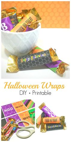 Halloween Candy Wrap Free Printable ~ these make such a cute gift for teachers, friends, trick or treat, co-workers, etc.  Add a little fun to your Halloween! http://serendipityandspice.com