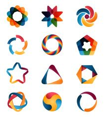 abstract circle creative signs and symbols. circles star pentagon hexagon and other design elements. Typo Logo Design, Logo Design Trends, Typography Logo, Graphic Design, Lettering, Free Vector Graphics, Free Vector Art, Pentagon Logo, Circle Symbol