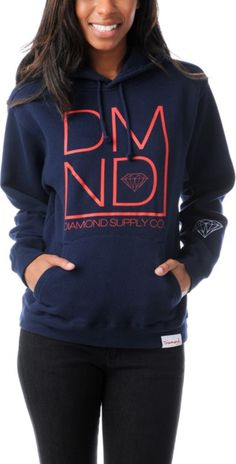 DIAMOND SUPPLY Diamond Supply Girls DMND Navy Blue Pullover Hoodie $79.95
