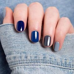 Blue and gray mani