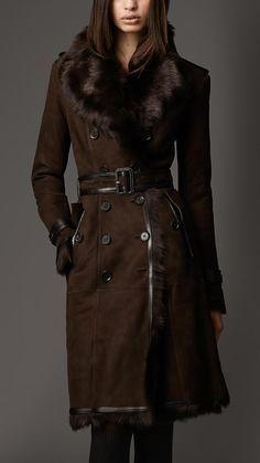 Burberry Long Shearling Trench Coat in Brown (dark clove brown) - Lyst Burberry Coat, Fur Fashion, Winter Fashion, Fashion Women, Style Fashion, Coats For Women, Clothes For Women, Winter Stil, Shearling Coat