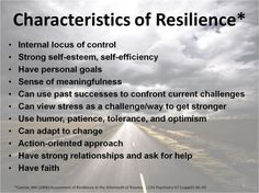 Characteristics of resilience. STEPPING STONES FROM STUMBLING BLOCKS...