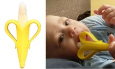 Disguise the toothbrush as a banana chew toy...freezable and dishwasher safe!