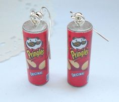 Pringles earrings handmade polymer clay food by kimonoscuro, $10.00