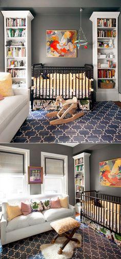 Love the decorating, except for a living room/home office, not a nursery. Nursery Room, Boy Room, Girl Nursery, Kids Bedroom, Nursery Inspiration, Nursery Ideas, Nursery Design, Baby Time, Baby Boy Nurseries