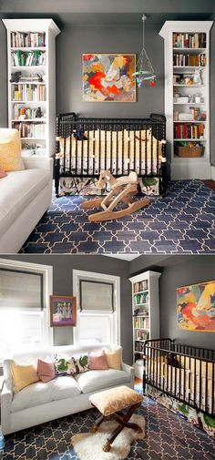Nursery Ideas.... Love the idea of a couch in a nursery...maybe in our forever home that's bigger :)