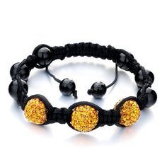 Fahter's Day Gifts Pugster Triple Yellow Disco Ball Rhinestone Adjustable Bracelet Gift For WomenCrystal Swarovski Crystal Stone Balls Bracelet (36 COLORS TO CHOOSE FROM) Pugster. $41.99. Color: black,yellow. Size (mm): 238*14.44*12.56. Metal: rhinestone,cotton. Weight (gram): 15.7. Save 20% Off!