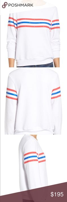"Wildfox US Gladiator Stripe Pullover Rep the stars and stripes in style in this brand NWT super soft Wildfox US Gladiator Stripe pullover styled with vintage red-white-and-blue stripes across the chest. - Scooped neck - Long sleeves - Stripe print - Oversized fit - Approx. 25"" length - Imported Wildfox Sweaters Crew & Scoop Necks"