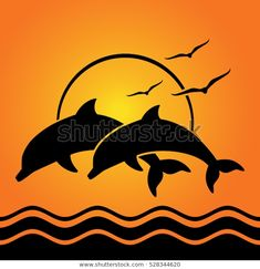 Find Dolphin Silhouettes On Sunset Background stock images in HD and millions of other royalty-free stock photos, illustrations and vectors in the Shutterstock collection. Thousands of new, high-quality pictures added every day. Dolphin Drawing, Cloud Drawing, Silhouette Tattoos, Silhouette Art, Dolphin Silhouette, Photographie Street Art, Tattoo Lettering Fonts, Sunset Background, Black And White Painting