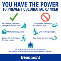 You have the power to prevent colorectal cancer! #colorectalcancer #infographic #coloncancer