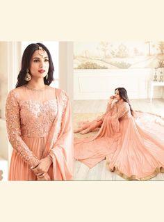 Peach Georgette Center Slit Asymmetrical Salwar Suit 126045 Indian Clothes, Indian Outfits, Bollywood Dress, Anarkali Dress, Shopping Websites, Salwar Suits, Hard Work, Peach, Dreams