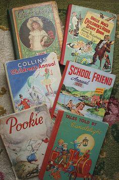 Vintage children's books by the vintage cottage, via Flickr