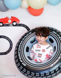 Inflatable Giant Tire Tube – Momo Party 2nd Birthday Party For Boys, Hot Wheels Birthday, Hot Wheels Party, Race Car Birthday, Race Car Party, Cars Birthday Parties, 4th Birthday, Car Themed Birthday Party, Nascar Party