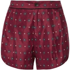 Rag & bone Gabrielle printed silk-twill shorts (3 930 SEK) ❤ liked on Polyvore featuring shorts, bottoms, rag & bone, red, loose shorts, loose fit shorts, rag bone shorts and red shorts