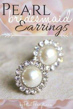 Pearl Bridesmaid Earrings - Order these hypoallergenic earrings for your bridesmaids! Each pair ships in a gift box. Emerald Earrings, Crystal Earrings, Women's Earrings, Bridal Earrings, Silver Earrings, Jewelry Gifts, Fine Jewelry, Jewellery, Bridesmaid Earrings