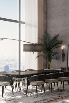 The dining room consists of the Apotheosis Dining Table and the new Needle Floor, pieces made to be centerpieces and focal points in big spaces. #loftindustrial #interiorarchitect #loftstyle #loftdesign #loftliving #loftinterior #nycinteriors #nycinteriordesign