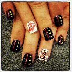 Ooorah Marine nails Usmc Nails, Military Nails, Marine Nails, Cute Nail Art, Cute Nails, Pretty Nails, Gel Nails, Acrylic Nails, Manicures