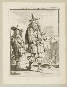 Jan van Troyen | Heer en jongeman gekleed volgens de mode omstreeks 1660, staand op een plein, Jan van Troyen, Gerbrand van den Eeckhout, c. 1660 | Een heer, gekleed volgens de Franse mode van ca. 1660. Hij draagt een wambuis met brede kanten kraag, pofbroek en kousen met brede canons. Schoenen met strikken. Punthoed met brede rand en strik op het lange haar dat over de schouders valt. Handschoenen in de hand. Achter hem een jongeman die ongeveer hetzelfde is gekleed. Rechtsachter ruiter en…