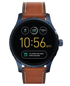 Fossil Q Gen 2 Marshal Saddle Leather Strap Touchscreen Smart Watch 45mm FTW2106 | macys.com