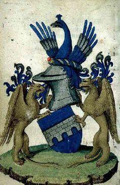 """#Armoiries du seigneur de la Bonnezière"""", peint au folio 13 d'un livre d'heures du 14e siècle - Armes d'azur au pont maçonné d'argent; l'écu est timbré d'un casque avec au dessus un #paon comme cimier et des #griffons de part et d'autres comme support #numelyo #color #couleur #bleu #bibliophile"""