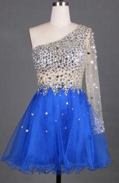 One Shoulder Sexy Short Charming A-Line Short Prom Dresses,Homecoming Dress, Homecoming Dresses,Sweetheart prom dress,Beading dress