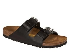 Classic Birkenstock Arizona Smooth Leather Pyramid Black 652811 - BLACK