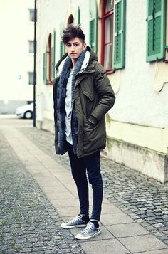 Parka By Closed, Cheap Monday Cardigan, Acne Studios Acne Jeans, Converse Chucks, Weekday T Shirt