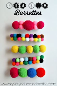 I love the idea of being able to customize the size and color of these Pom Pom Barrettes. They'd be great to make as gifts for cheerleaders, girl scouts, or any other group of young ladies.