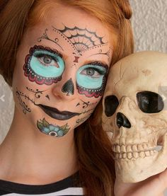 Day of the Dead Halloween Gifts for Teens:  Sugar Skull Temporary Costume Tattoos by Sugar Tats @ Etsy
