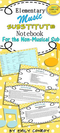 Music Sub Plans (For the Non-Musical Sub) are great for substitutes with no musical background! The plans contain musical activities that are simple enough for a non-musical sub to implement along with a daily schedule page, welcome letter, classroom procedures, and other helpful instructions for your sub!